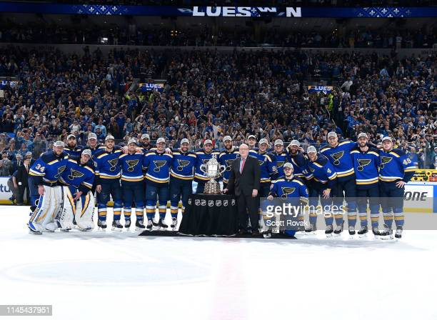 St Louis Blues with the Clarence Campbell Bowl after defeating the San Jose Sharks 4 games to two after Game Six of the Western Conference Final...