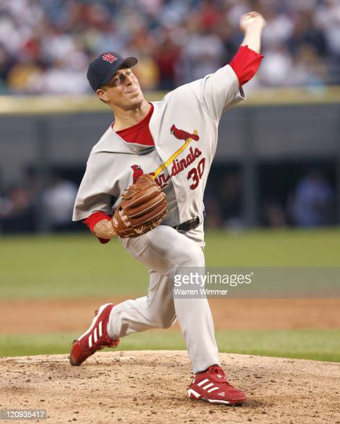 St Louis Cardinal starting pitcher Mark Mulder on the mound at US Cellular Field in Chicago Illinois June 10 2006 The Chicago White Sox over the...