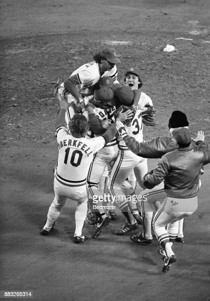 St Louis Cardinal team mobs pitcher Bruce Sutter at the end of the World Series am St Louis won the World Series and defeated Milwaukee 63 in the...