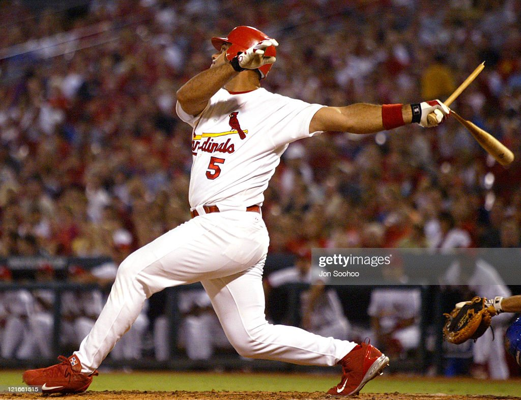 St. Louis Cardinals Albert Pujols snaps his bat, flying out to Los Angeles Dodger centerfielder Steve Finley in the 8th inning on September 3, 2004 at Busch Stadium in St. Louis, Missouri. The Cardinals beat the Dodgers 3-0