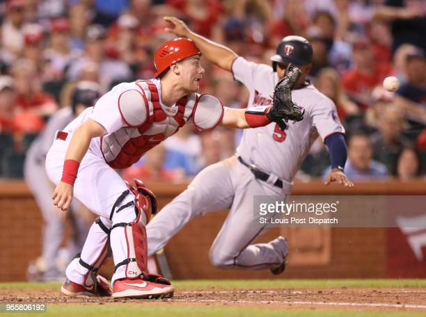 St Louis Cardinals catcher Carson Kelly receives the throw as Minnesota Twins' Eduardo Escobar scores on a double by Robbie Grossman in the sixth...