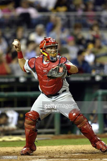 St Louis Cardinals catcher Yadier Molina in action against the Pittsburgh Pirates at PNC Park in Pittsburgh Pennsylvania on April 19 2005