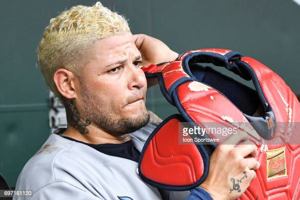 St Louis Cardinals catcher Yadier Molina prepares to go back to the field during an MLB game between the St Louis Cardinals and the Baltimore Orioles...