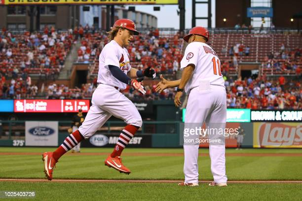 St Louis Cardinals center fielder Harrison Bader rounds third base after hitting a home run in the bottom of the third inning during the game between...