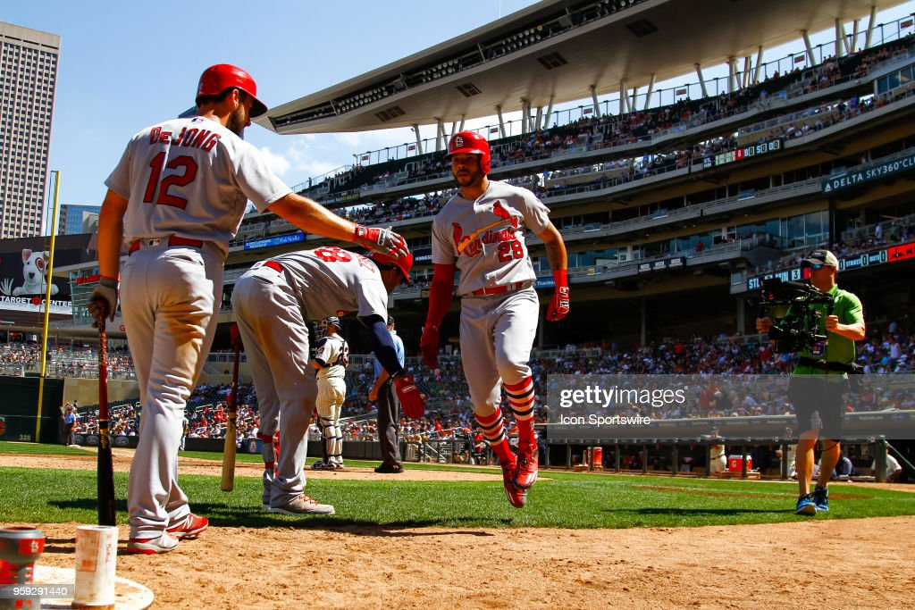 St. Louis Cardinals center fielder Tommy Pham (28) is congratulated after hitting a homerun in the top of the 8th inning during the regular season game between the St. Louis Cardinals and the Minnesota Twins on May 16, 2018 at Target Field in Minneapolis, Minnesota. The Cardinals defeated the Twins 7-5.