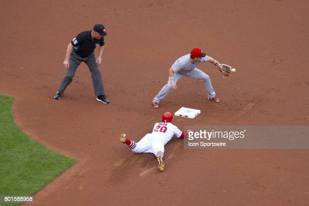 St Louis Cardinals center fielder Tommy Pham slides to second base ahead of the tag during a MLB baseball game between the St Louis Cardinals and the...