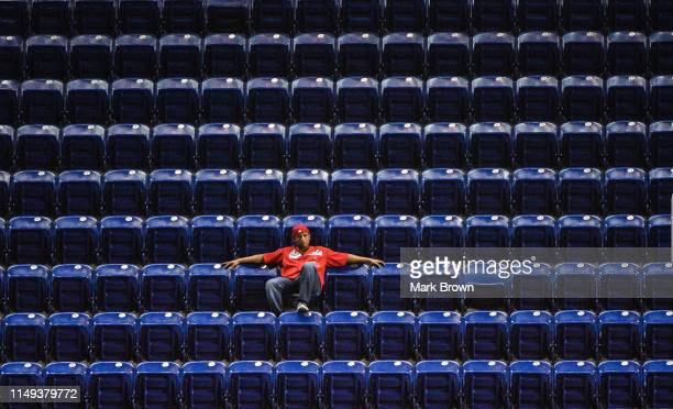 St Louis Cardinals fan watches the game between the Miami Marlins and the St Louis Cardinals at Marlins Park on June 11 2019 in Miami Florida