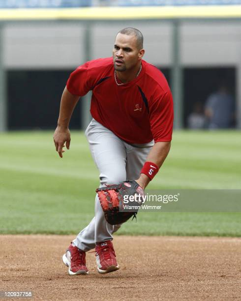 St Louis Cardinal's first baseman Albert Pujos participating in pregame warm ups at US Cellular Field Chicago Illinois on June 20 2006