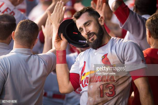 St Louis Cardinals first baseman Matt Carpenter in the dugout after hitting a grand slam home run during the MLB interleague game between the...
