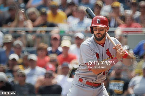 St Louis Cardinals first baseman Matt Carpenter watches the pitcher during an MLB game between the Pittsburgh Pirates and the St Louis Cardinals on...