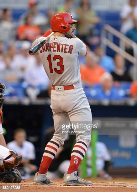 St Louis Cardinals first baseman Matt Carpenter with his typical stand await a pitch during the first inning in a game between the between the Miami...