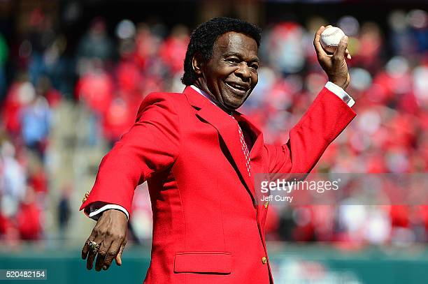 St Louis Cardinals hall of famer Lou Brock throws out a first pitch before the Cardinals home opener against the Milwaukee Brewers at Busch Stadium...