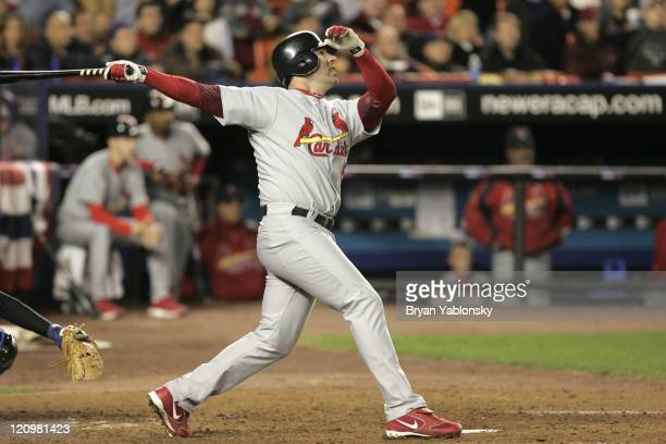 St Louis Cardinals Jim Edmonds in action during MLB game 2 of the National League Championship Series against the New York Mets played at Shea...