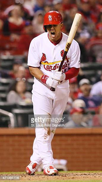 St Louis Cardinals' Jon Jay reacts after being hit by a pitch during ninth inning action on Monday April 27 at Busch Stadium in St Louis