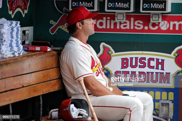 St Louis Cardinals manager Mike Matheny as seen in the dugout during the game between the St Louis Cardinals and Cincinnati Reds on July 14 2018 at...