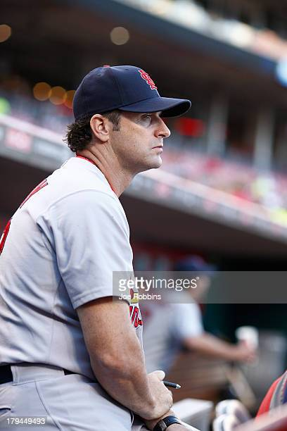 St Louis Cardinals manager Mike Matheny looks on against the Cincinnati Reds during the game at Great American Ball Park on September 3 2013 in...