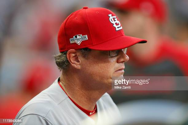 St Louis Cardinals Mike Shildt looks on during the NLDS Game 1 between the St Louis Cardinals and the Atlanta Braves at SunTrust Park on Thursday...
