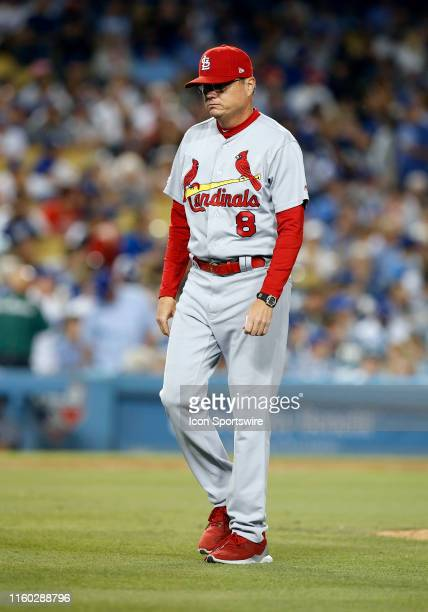 St Louis Cardinals Mike Shildt walks back to the dugout during the game against the Los Angeles Dodgers on August 06 at Dodger Stadium in Los Angeles...