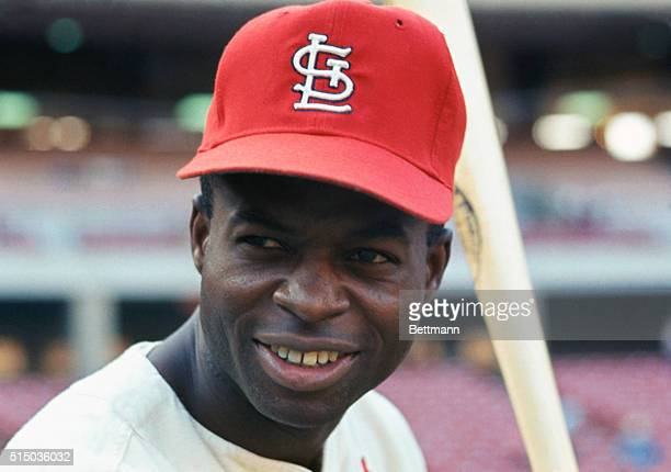 St Louis Cardinals outfielder Lou Brock August 15th Brock batting 295 leads the Cardinals in stolen bases