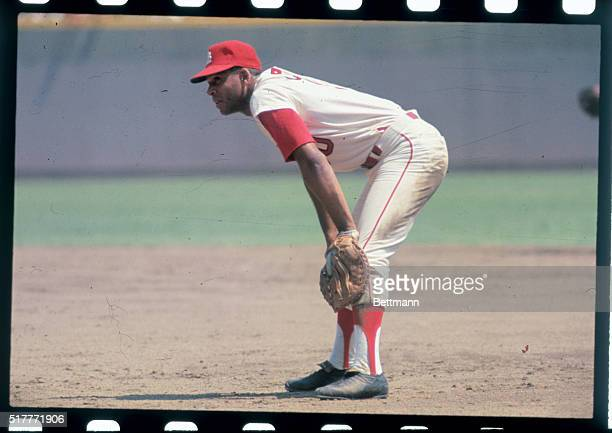 St. Louis Cardinals' outfielder, Orlando Cepeda covers first base here, during game against unidentified team.