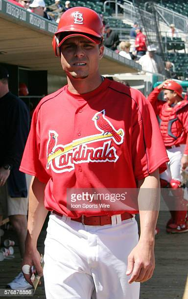 St Louis Cardinals outfielder Rick Ankiel takes warmup swings during a spring training game with the Houston Astros in Jupiter Florida March 10 2005...