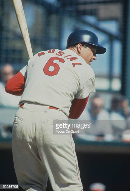 St Louis Cardinals' outfielder Stan Musial stands ready at the plate during a game circa 19411963