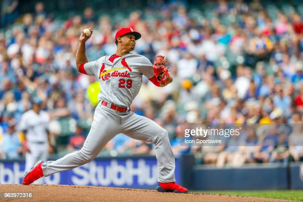St Louis Cardinals Pitcher Alex Reyes during the third game of the second home series between the Milwaukee Brewers and the Cincinnati Reds on May 30...