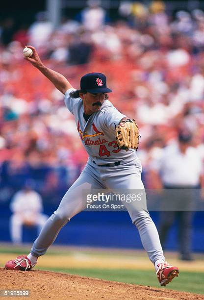 St Louis Cardinals' pitcher Dennis Eckersley pitches against the New York Mets during a game at Fenway Park circa 1996 in Flushing New York
