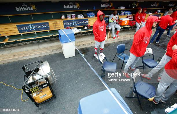 St Louis Cardinals player taped off a large portion of the dugout before their game against the Detroit Tigers at Comerica Park on September 9 2018...