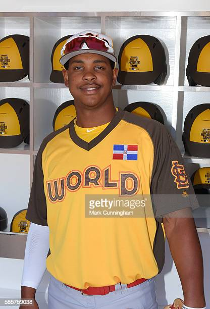 St Louis Cardinals prospect Alex Reyes of the World Team poses for a photo prior to the SiriusXM AllStar Futures Game at PETCO Park on July 10 2016...