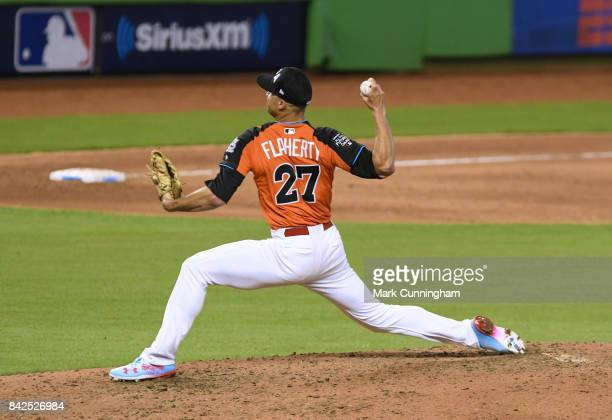 St Louis Cardinals prospect Jack Flaherty of Team USA pitches during the 2017 SiriusXM AllStar Futures Game at Marlins Park on July 9 2017 in Miami...