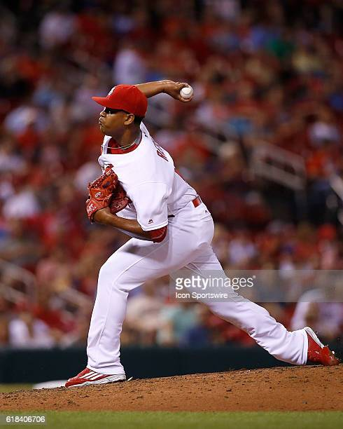 St Louis Cardinals relief pitcher Alex Reyes pitches against the New York Mets during the fifth inning of a baseball game at Busch Stadium in St...