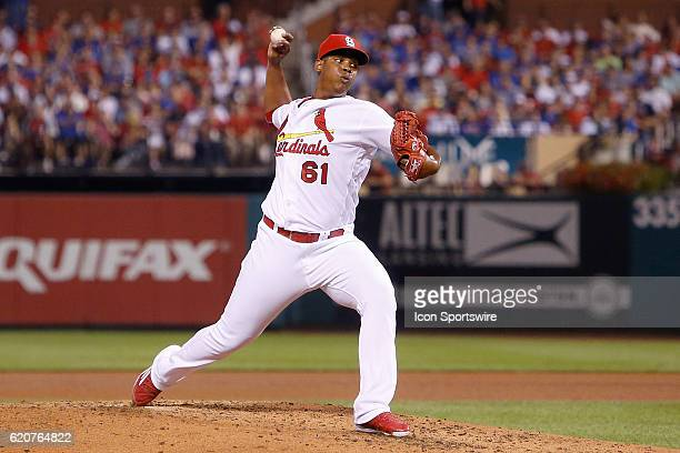 St Louis Cardinals relief pitcher Alex Reyes pitches during the third inning of a baseball game against the Chicago Cubs at Busch Stadium in St Louis...