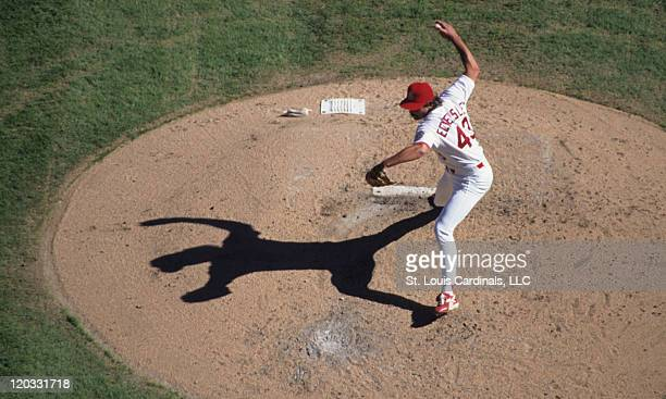 St Louis Cardinals relief pitcher Dennis Eckersley delivers a pitch during a game against the Cincinnati Reds on September 29 1996 at Busch Stadium...