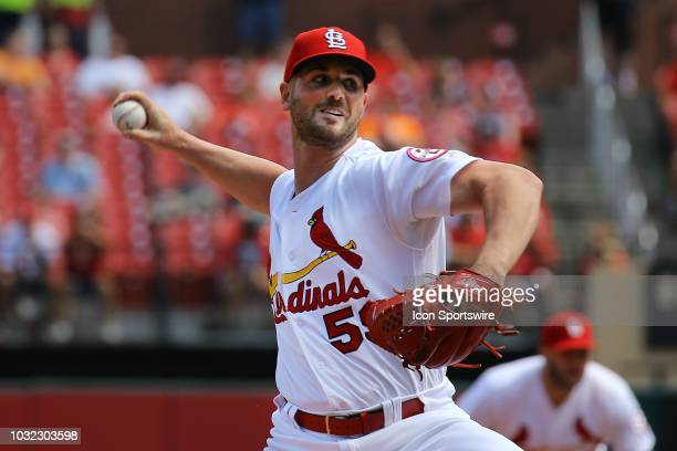 St Louis Cardinals relief pitcher Mike Mayers delivers a pitch against the Pittsburgh Pirates during the game between the St Louis Cardinals and...