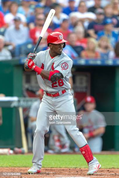 St Louis Cardinals right fielder Adolis Garcia at bat during the MLB interleague game against the Kansas City Royals on August 11 2018 at Kauffman...