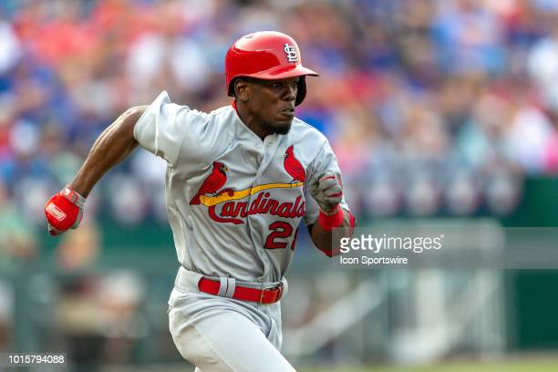St Louis Cardinals right fielder Adolis Garcia heads to first base during the MLB interleague game against the Kansas City Royals on August 11 2018...