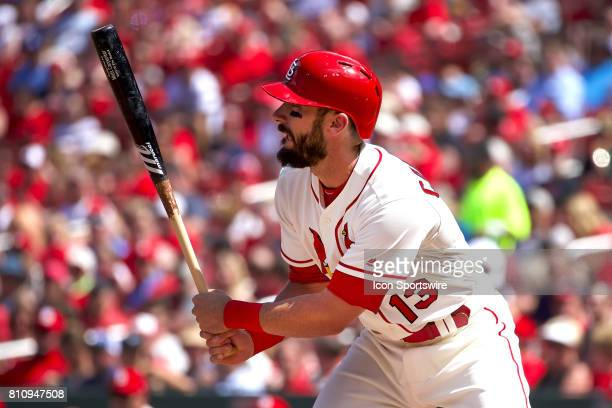 St Louis Cardinals second baseman Matt Carpenter at bat against the New York Mets during a MLB baseball game between the St Louis Cardinals and the...