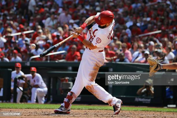 St Louis Cardinals second baseman Matt Carpenter at bat during the game between the St Louis Cardinals and Pittsburgh Pirates on September 12 2018 at...