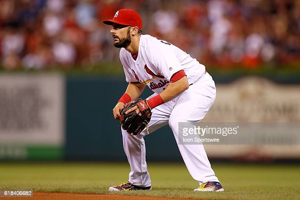 St Louis Cardinals second baseman Matt Carpenter in position during the third inning of a baseball game against the New York Mets at Busch Stadium in...