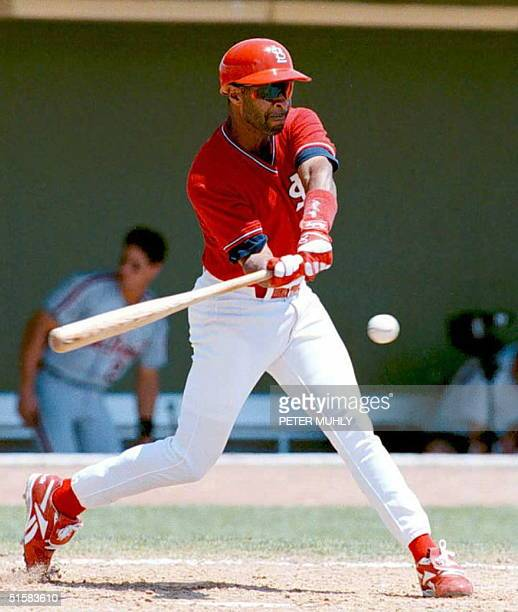 St Louis Cardinals shortstop Ozzie Smith hits the ball in the 5th inning in an exhibition game against the Detroit Tigers 16 April in St Petersburg...