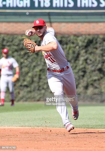 St Louis Cardinals Shortstop Paul DeJong during a game between the St Louis Cardinals and the Chicago Cubs on September 15 at Wrigley Field in...