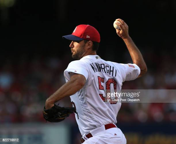 St Louis Cardinals starting pitcher Adam Wainwright works against the Miami Marlins on July 3 at Busch Stadium in St Louis The righthander landed on...