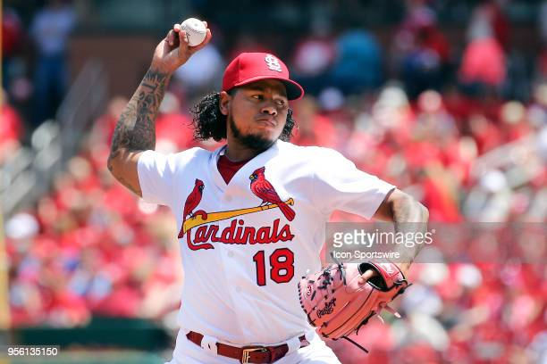 St Louis Cardinals starting pitcher Carlos Martinez delivers a pitch against the Minnesota Twins during the game between the St Louis Cardinals and...
