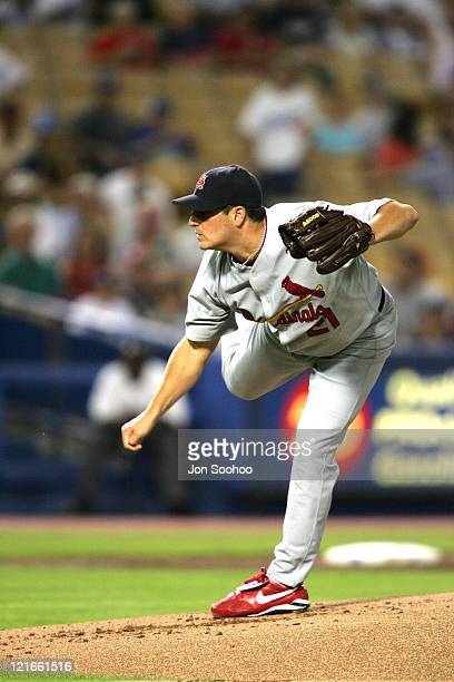 St Louis Cardinals starting pitcher Jason Marquis vs Los Angeles Dodgers Cesar Izturis in the first inning Friday September 10 2004 The Dodgers beat...