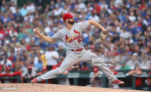 St Louis Cardinals starting pitcher John Gant throws in the first inning against the Chicago Cubs in the second game of a double header at Wrigley...