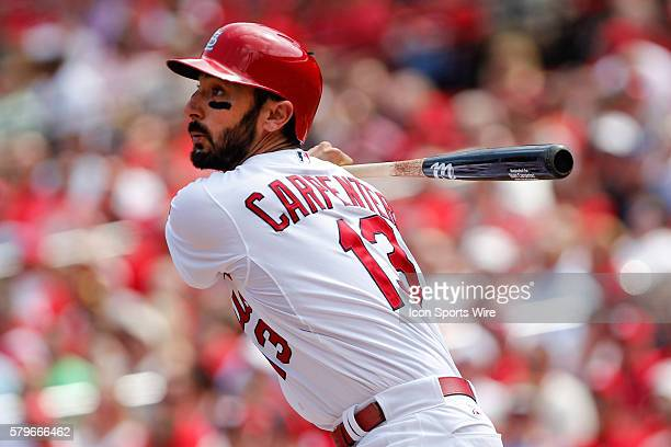 St Louis Cardinals third baseman Matt Carpenter at bat during a baseball game at Busch Stadium in St Louis Missouri