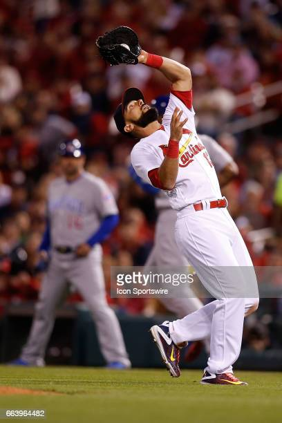 St Louis Cardinals third baseman Matt Carpenter catches for an out during a baseball game against the Chicago Cubs on April 2 at Busch Stadium in St...