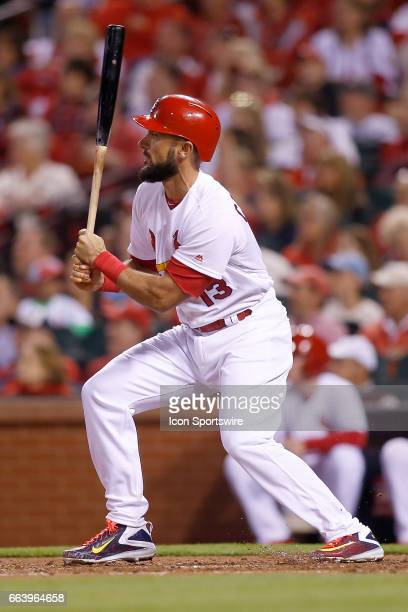 St Louis Cardinals third baseman Matt Carpenter follows through on a sacrifice fly during the third inning of a baseball game against the Chicago...