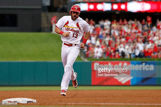 St Louis Cardinals third baseman Matt Carpenter runs the bases after hitting a threerun home run during the sixth inning of a baseball game against...